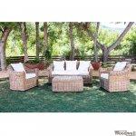 Outdoor Lounge-Set Alexandra aus natürlichem Rattan Kooboo