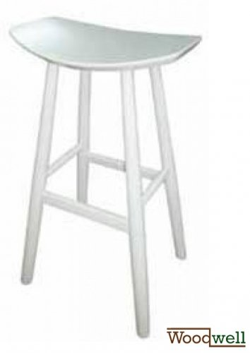 Barstool of beech without backrest in white