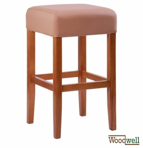 Beech stool with beige upholstery