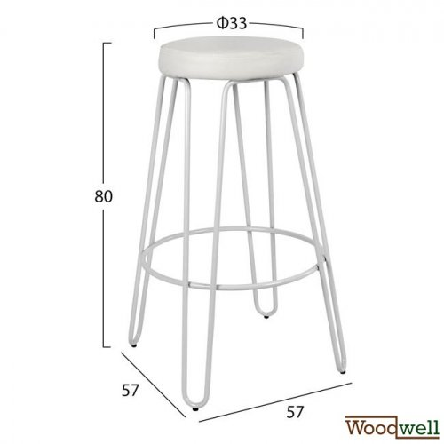 Bar stool without back support from metal in white