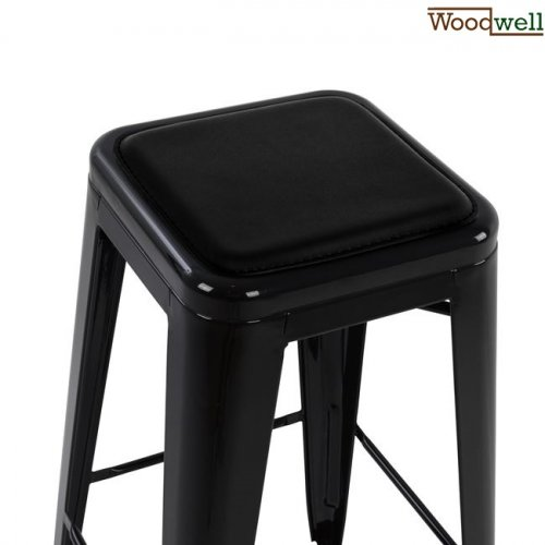Metal barstool in the color black with upholstery in black