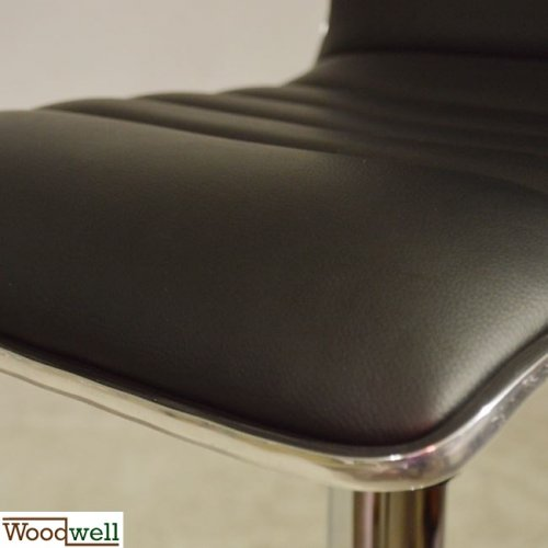 Modern barstool with black imitation leather cover