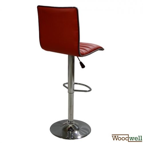 Modern barstool with red imitation leather cover