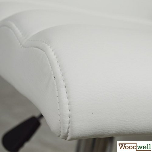 Modern barstool with white imitation leather cover