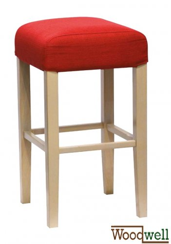Beech stool with red upholstery