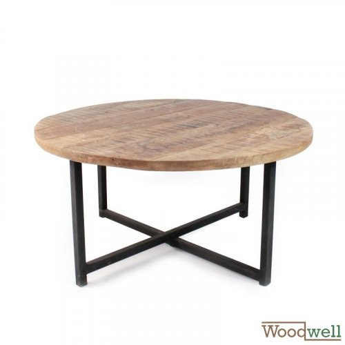 Coffee Table DEX made of solid mango wood 80x80x40 cm | Tree trunk furniture