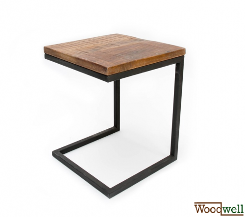 Laptop table VINTAGE made of solid mango wood 40x40x50 cm | Tree trunk furniture