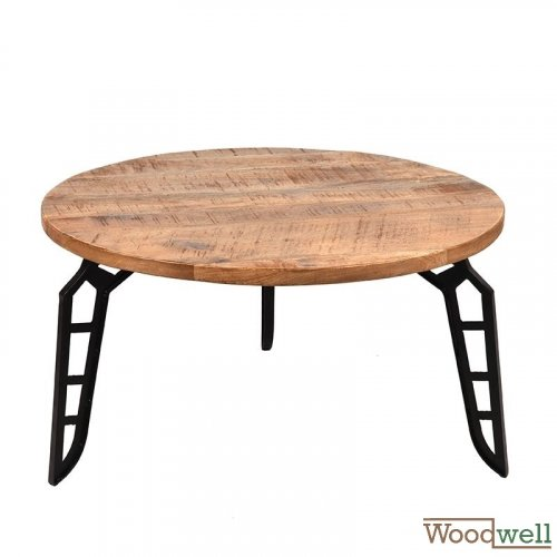 Solid mango coffee table FLINTSTONE 80x80x43 cm  | Tree trunk furniture