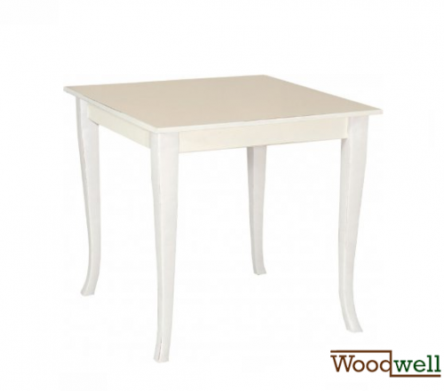 Stable wooden table with antique design | In white