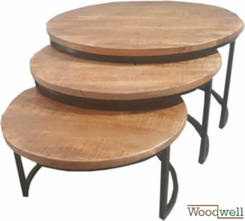 3er EDE table set in solid wood | Tree trunk furniture - Kopie