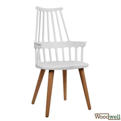 Armchair Yvonne with wooden legs in white