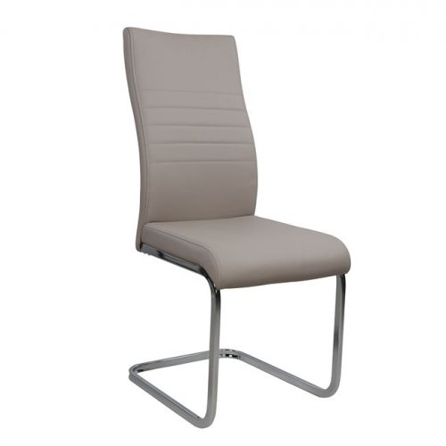 Dinning-Room Chair /POLYANA / Grau-Bez Artificial Leather And Chrome Frame /Woodwell