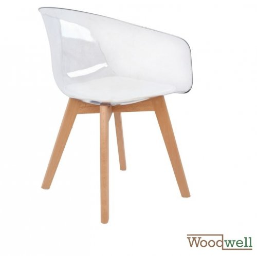 Chair PORTHOS, a combination of acrylic and wood, in white