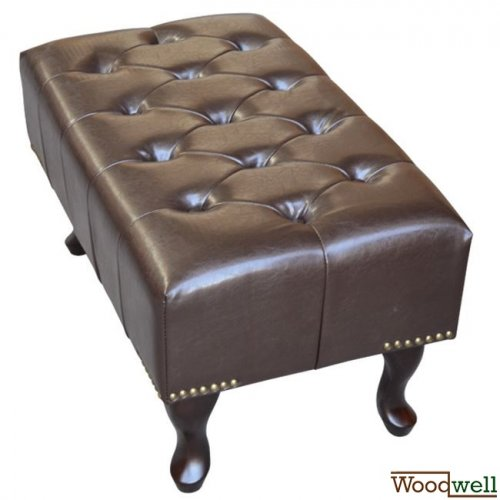 """Chesterfield"" stool / footstool with leatherette cover in dark brown"