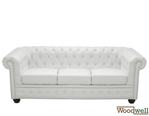Sofa Chesterfield 3 seater in white leatherette