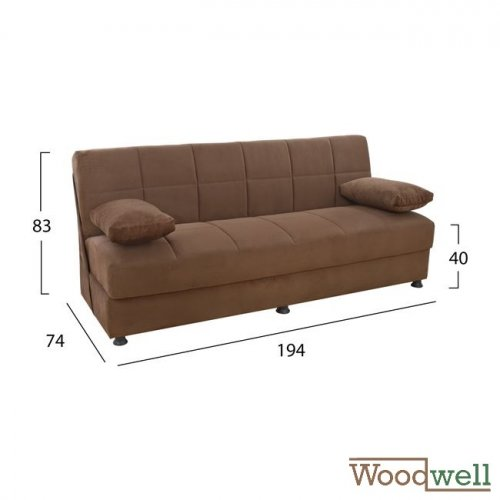 3 seater sofa bed with storage space | In brown