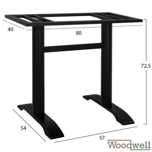 Metal table base with two columns | Height 72.5 cm
