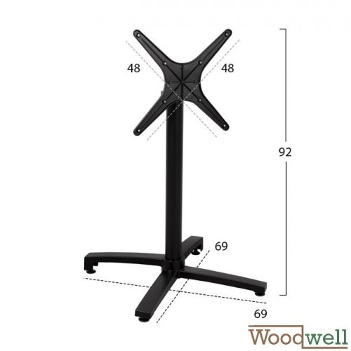 Table base with folding bottom | Height 73 cm