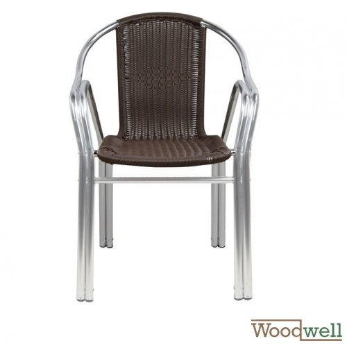 Modern Outdoor Chairs buy cheap | Modern outdoor and indoor chair Noel armchair, outside with double aluminum frame, seat rattan, color brown