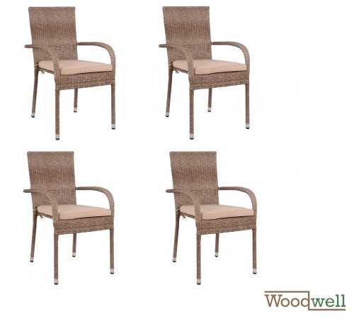 SAN DIEGO 4-seat outdoor chair set, wicker / rattan | In beige-brown