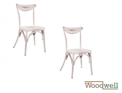 Aluminum chair SHIRLEY with patina, in white