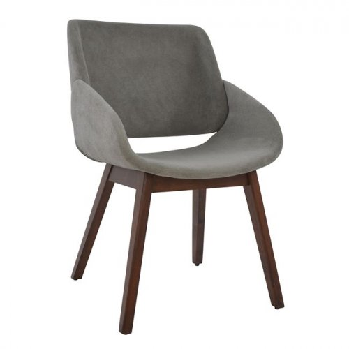 Visitor chair in walnut and gray fabric | Autumn