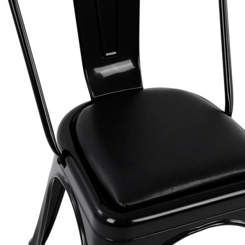 Antique chair in black with seat upholstery