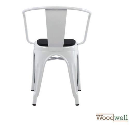 Antique white chair RELIX, with armrests in industrial design and upholstery in black