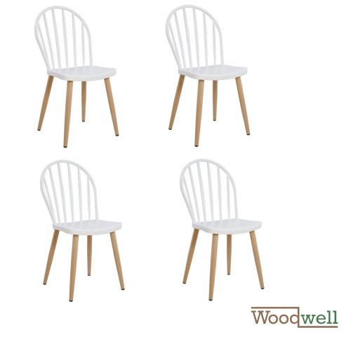Modern Dining Chair with metal legs in natural wood finish, in white