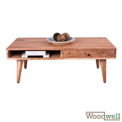 Lounge table made of solid acacia wood 117x60x41 cm | Tree trunk furniture
