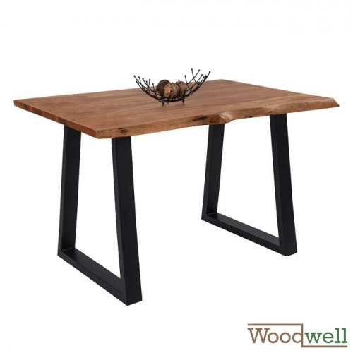 Bar table made of solid acacia wood in natural color | Tree trunk furniture