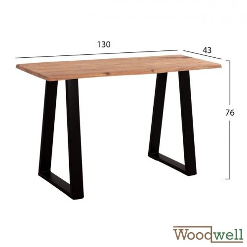 Solid acacia wood table 130x43x76 cm | Tree trunk furniture