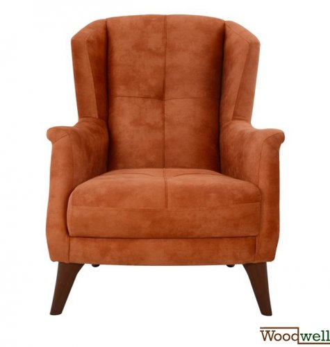 Armchair casey with wooden legs and orange fabric