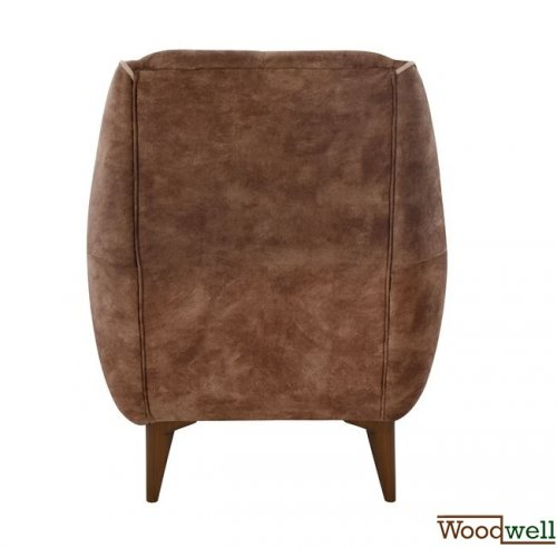 Armchair breeze with wooden legs and brown fabric