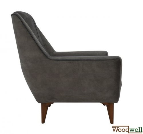Armchair breeze with wooden legs and dark grey fabric