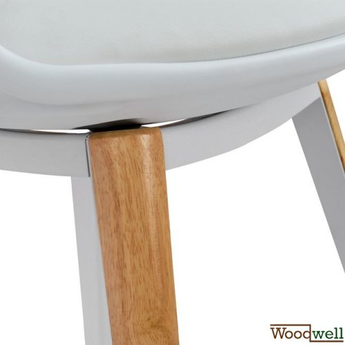 Anais dinning room chair with wooden legs in white color