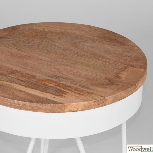 Corner table SARAN made of solid natural mango wood 44x44x43 cm | Tree trunk furniture