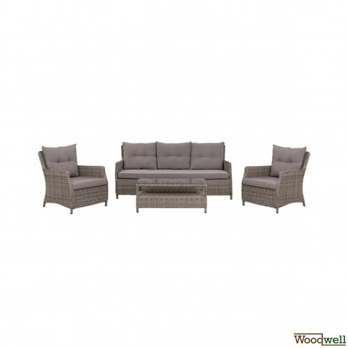 Garden Furniture - Wicker - Lounge - 4 Pieces - Wicker / Rattan - Anthracite - Gray