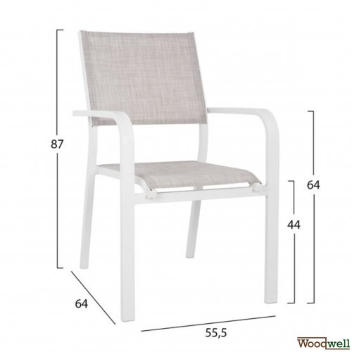 Eros, chair in white aluminum frame and light gray fabric