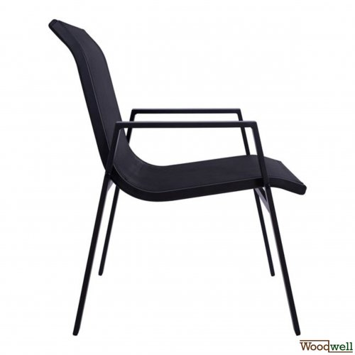 Professional chair in black aluminum frame and black fabric
