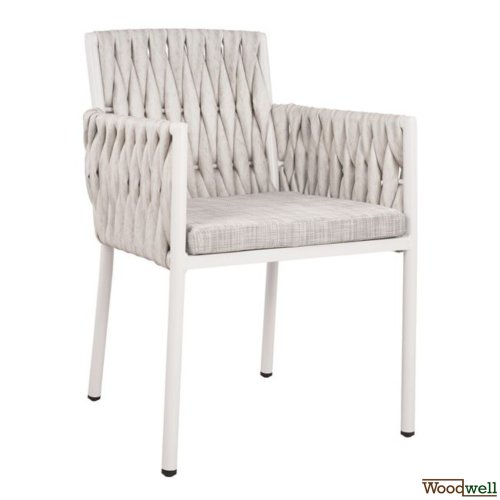 Outdoor chair in aluminum and wicker in a white shade