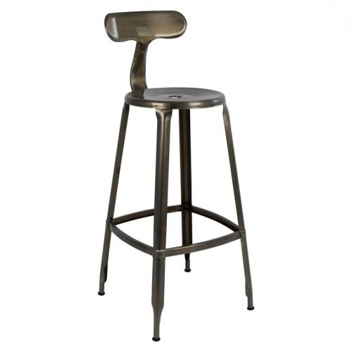 Barstool Industrial design in metal with backrest in natural color