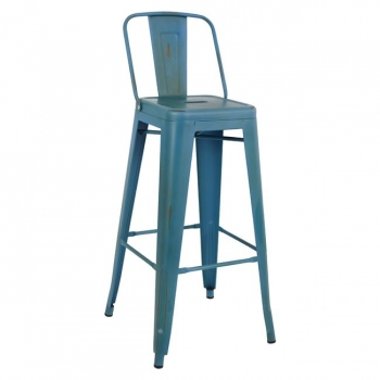 Barhocker industrial design metall r ckenlehne patina blau for Barhocker industrial style