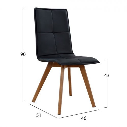 Design chair metal wood look-black leatherette