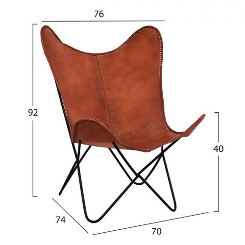 "Armchair ""Butterfly"" genuine leather tobacco"