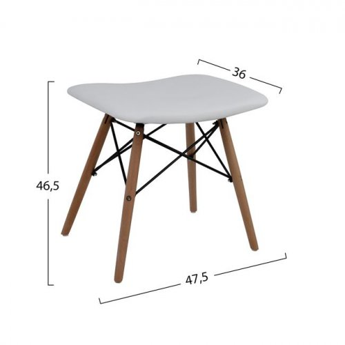 Bar stool EAMES polypropylene with PU seat 47x45.5x46,5cm | In white