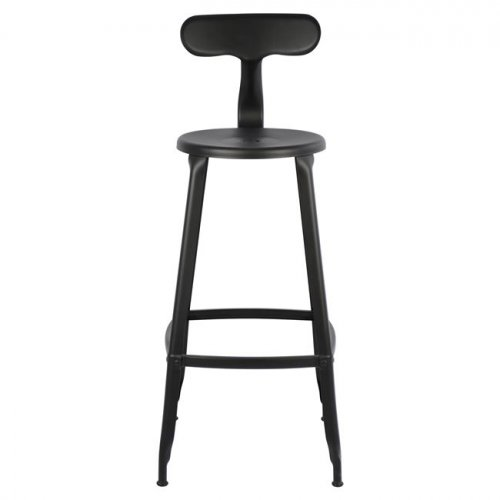 Bar stool Industrial design metal with backrest Rusty color