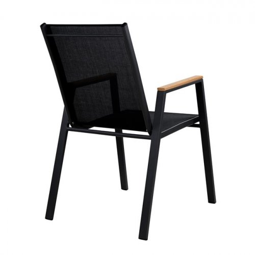 Aluminum armchair with soft textile seat