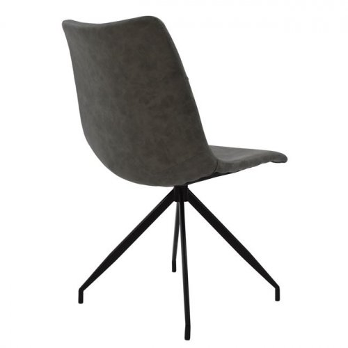 Chair in metal imitation leather gray