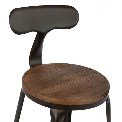 Bar stool Industrial design metal and wooden seat with backrest | Rusty color